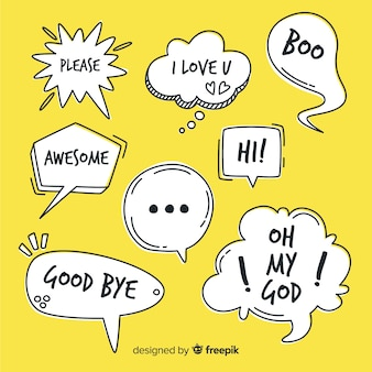 Bolhas do discurso desenhada de mão com expressões
