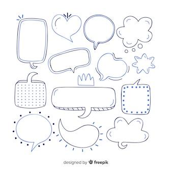 Bolhas do discurso desenhada de mão em uma variedade de formas