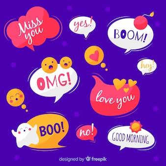 Bolhas do discurso desenhando com expressões