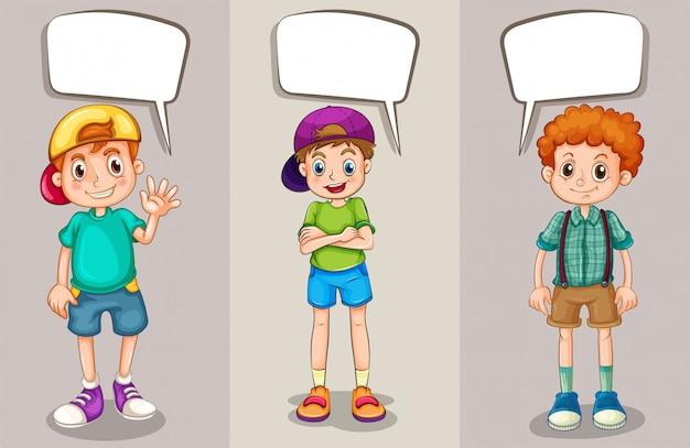 Bolhas do discurso design com três rapazes