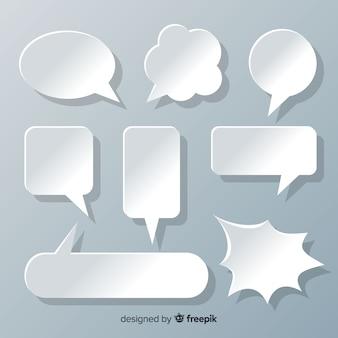 Bolhas do discurso design plano na coleção de estilo de papel