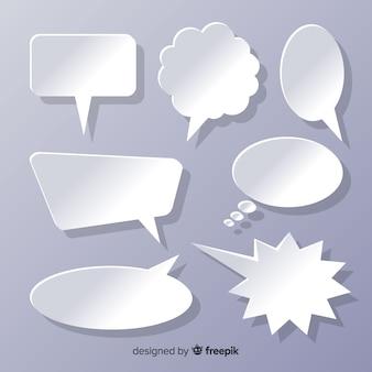 Bolhas do discurso design plano no conjunto de estilos de papel