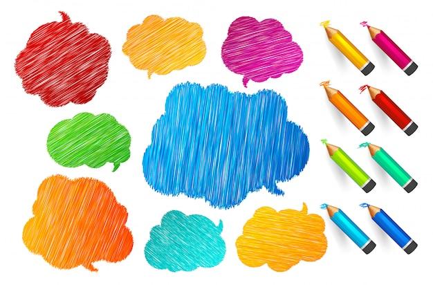 Bolhas do discurso e do pensamento e conjunto de lápis multicoloridos, estilo de desenho com lugar para citações