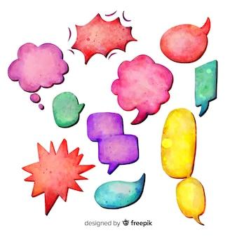 Bolhas do discurso em aquarela colorida
