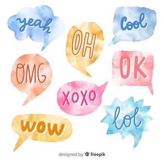 Bolhas do discurso em aquarela com diferentes expressões
