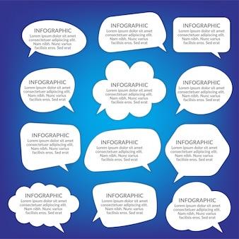 Bolhas do discurso em branco branco, conjunto de balão de pensamento