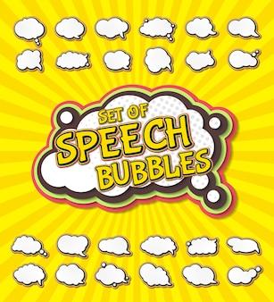 Bolhas do discurso em estilo pop art e quadrinhos