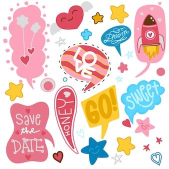 Bolhas do discurso em quadrinhos colorido definido para o dia dos namorados
