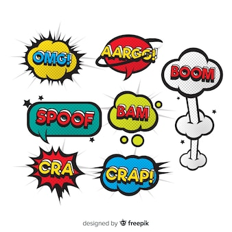 Bolhas do discurso em quadrinhos coloridos com diversidade de expressões