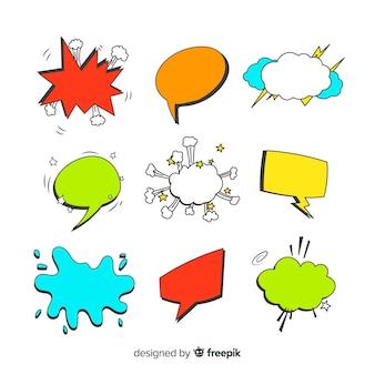 Bolhas do discurso em quadrinhos coloridos com variedade de formas