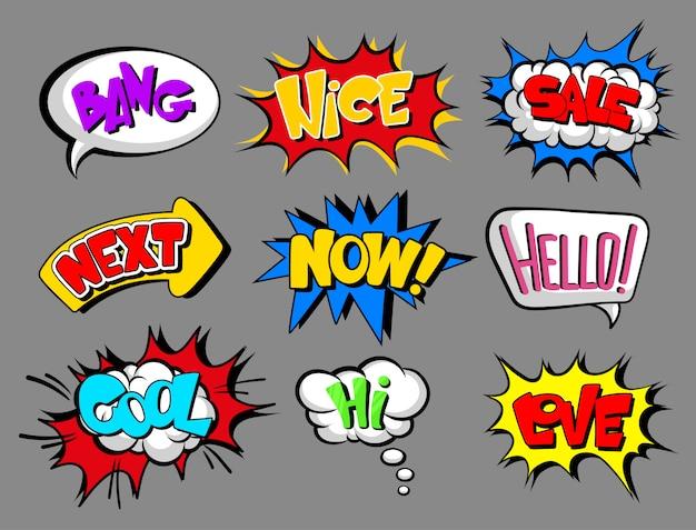 Bolhas do discurso em quadrinhos com conjunto de texto, bang, bom, venda, próximo, agora, olá, legal, amor, oi, nuvem de efeito sonoro ilustrações