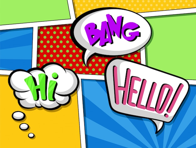 Bolhas do discurso em quadrinhos com conjunto de texto, efeitos sonoros coloridos dos desenhos animados ilustrações no estilo pop art