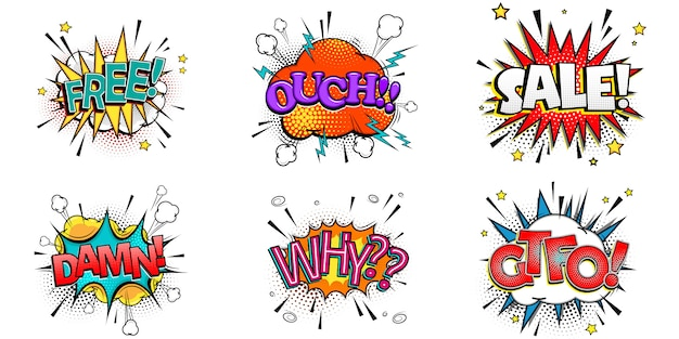 Bolhas do discurso em quadrinhos conjunto com emoções diferentes e texto grátis, ai, venda, caramba, por que, gtfo