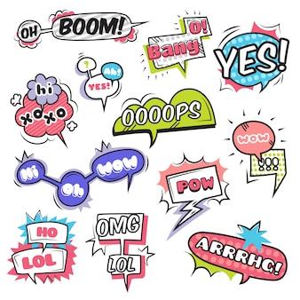 Bolhas do discurso em quadrinhos conjunto com ilustração em vetor isoladas símbolos emoções plana