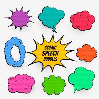 Bolhas do discurso em quadrinhos desenhos animados em muitas cores