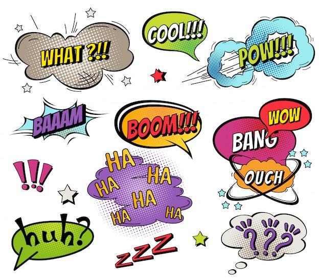 Bolhas do discurso em quadrinhos e espirra conjunto Vetor Premium