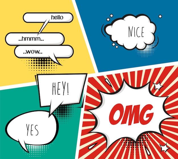 Bolhas do discurso em quadrinhos e fundo de banda desenhada