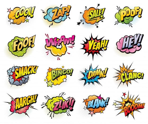 Bolhas do discurso em quadrinhos e ícones da explosão de som