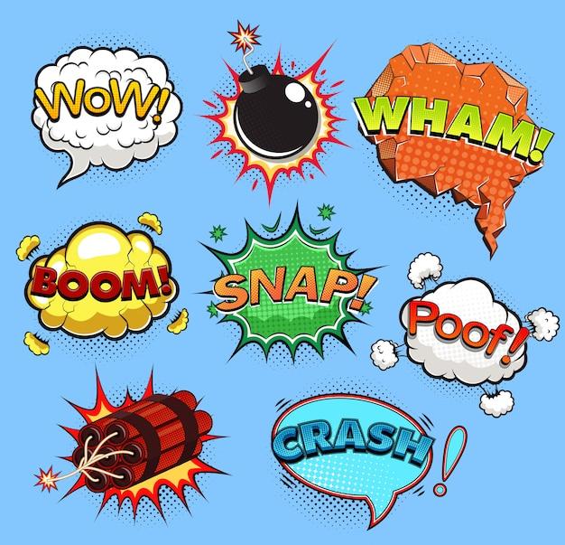 Bolhas do discurso em quadrinhos. efeitos sonoros. ilustração