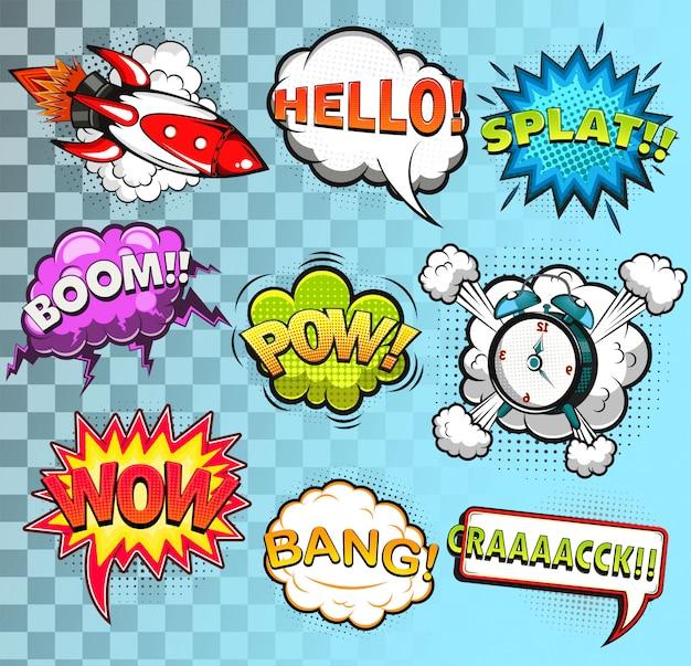 Bolhas do discurso em quadrinhos. foguete. despertador. efeitos sonoros. ilustração