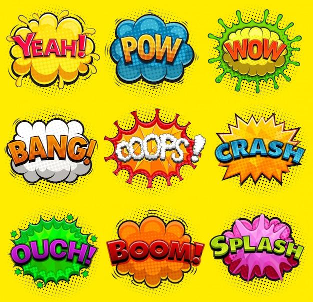 Bolhas do discurso em quadrinhos multicoloridos efeitos sonoros.