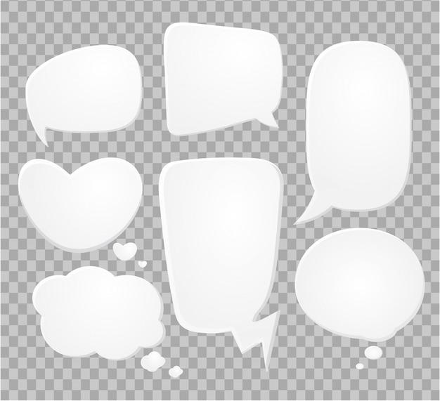 Bolhas do discurso em quadrinhos no meio-tom transparente.