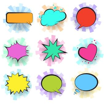 Bolhas do discurso em quadrinhos retrô de cor com listras