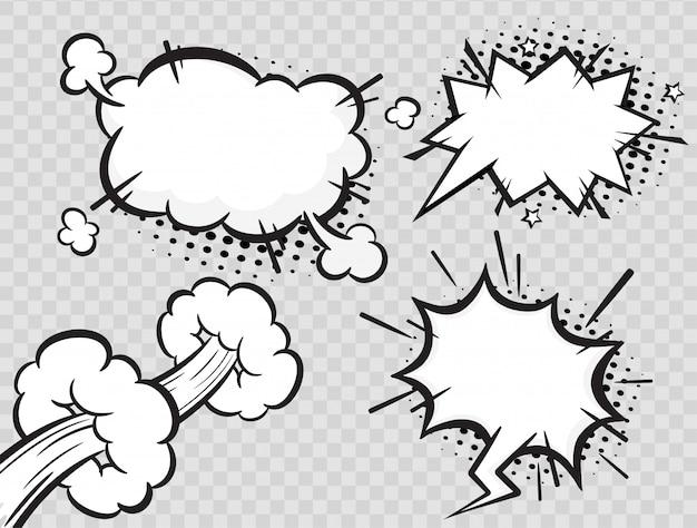 Bolhas do discurso em quadrinhos sobre fundo transparente de meio-tom.
