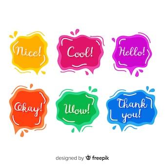 Bolhas do discurso fluido com cores