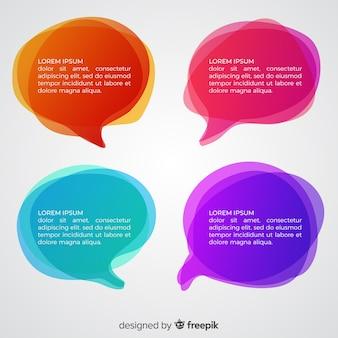 Bolhas do discurso gradiente de cores diferentes