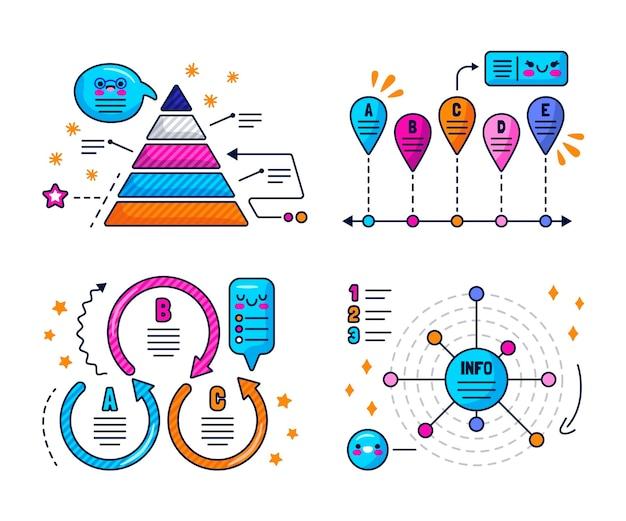Bolhas do discurso kawaii, setas e adesivos de elementos de infográfico