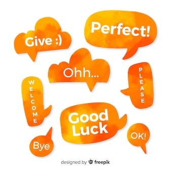 Bolhas do discurso laranja watercolored com expressões