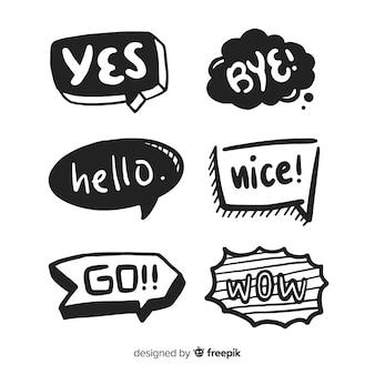 Bolhas do discurso mão desenhada com coleção de expressões