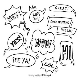 Bolhas do discurso mão desenhada com formas diferentes