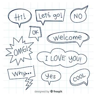 Bolhas do discurso mão desenhada com pacote de expressões diferentes