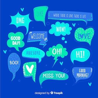 Bolhas do discurso mão desenhada sobre fundo azul
