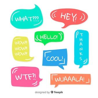 Bolhas do discurso multicolorido com expressões combo