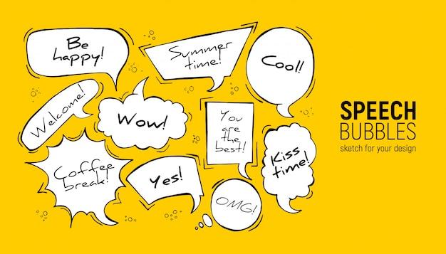 Bolhas do discurso no retângulo, círculo, oval, nuvem, quadrado, formas de explosão.