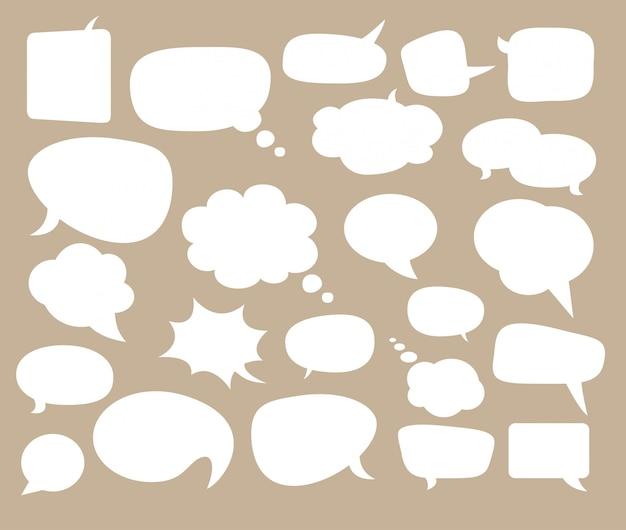 Bolhas do discurso para quadrinhos e texto.