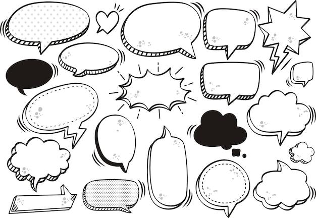 Bolhas do discurso preto em quadrinhos de texto em branco em estilo pop art
