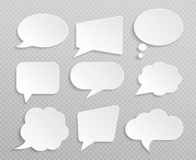 Bolhas do discurso retrô em branco branco isolado conjunto