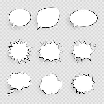 Bolhas do discurso retrô vazio em quadrinhos pop art definidas no projeto vintage com sombras de meio-tom preto.