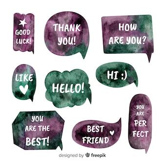 Bolhas do discurso watercolored com diferentes cores e expressões