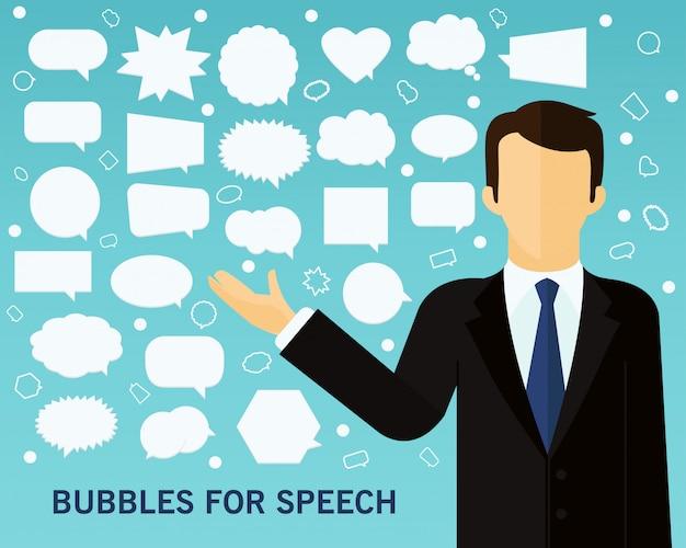 Bolhas do fundo do conceito de discurso.