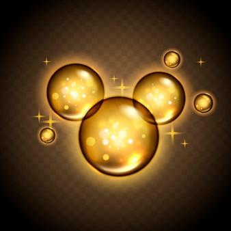 Bolhas douradas com brilho mágico, fundo transparente