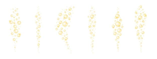 Bolhas douradas fluindo colágeno brilhante óleo cosmético de jojoba vitamina a ou ácidos graxos ômega e