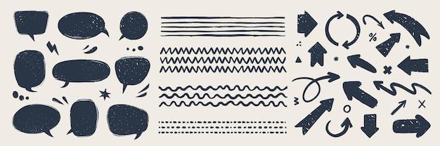 Bolhas e pincéis de setas de vetor abstrato