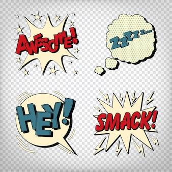 Bolhas em quadrinhos com expressões