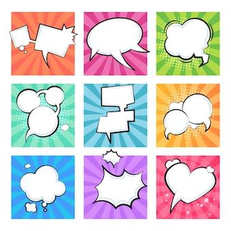 Bolhas em quadrinhos de desenhos animados. discurso balões retrô explosivo nuvem elemento mensagem de texto forma quadrinhos balão formas. conjunto de nuvens de formulações de texto