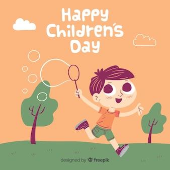 Bolhas menino fundo do dia das crianças